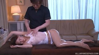 Japanese babe missionary fucked close by an oiled wet T-shirt