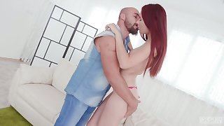 Bald constrained dude knows how near convince new GF near try anal sexual connection for the first time