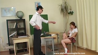 Amateur redhead Adela in miniskirt fucked by her personal tutor