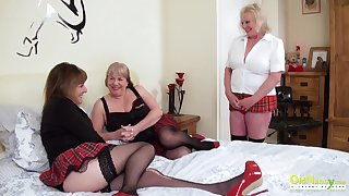 Threesome concupiscent party alongside three busty british lesbian matures and sexual intercourse toys