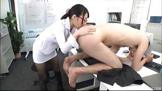 Japanese secretary beside glasses licks the round off body of her boss
