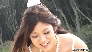 Off an obstacle chain cute Maiko Yoshida sucking her boyfriend's dick on an obstacle beach