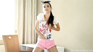 Skinny brunette Nikola N pleasures her cravings while home alone