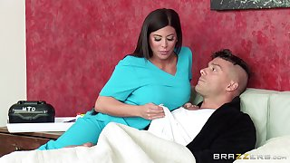 Nurse Alexa Gouge out in sexy uniform sucks a dick and rides him hard