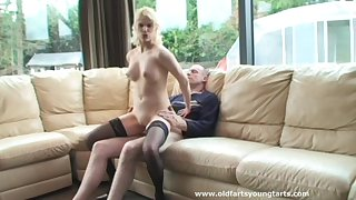 Patriarch guy got lucky and banged hot blonde Kelly with natural tits