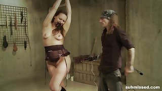 Brunette chick Nora enjoys while her husband spanks coupled with pokes her