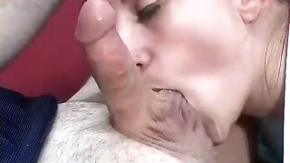 Bodacious Irish English colleen with small tits is sucking a man off in the locker room