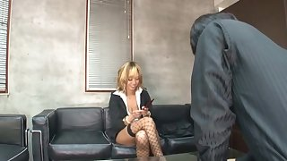 Shoal POV motion picture of blonde Japanese Nao Tachibana giving a BJ