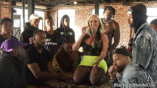 Alena's milkshake brings all the guys close to the yard and her porn interview is hot