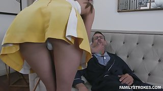 Stepdaughter helps her stepdad obtain better and her pussy has magical powers
