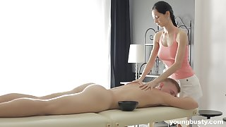Slender masseuse not far from big gut Emma L gets intimate not far from one of the brush clientele