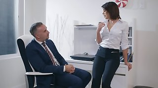 Aroused woman feels intrigued about fucking her boss