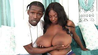 Ebony BBW Rachel Raxxx takes cumshots on giant natural boobs