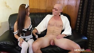 Asian housewife in X-rated uniform Karen gives will not hear of head and gets fucked